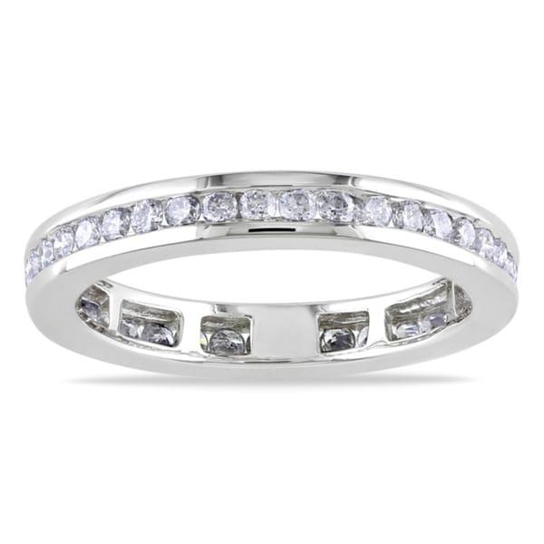 Miadora 14k White Gold 3/4ct TDW Diamond Eternity Ring (G-H, I1-I2)
