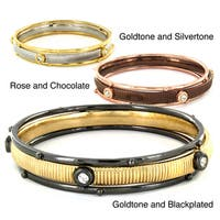 Two-tone Metal and Crystal Bangle Bracelets (Set of 3)