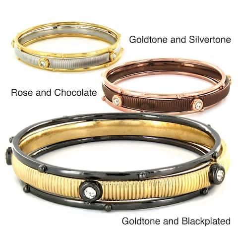 Two-tone Metal and Crystal Bangle Bracelets (Set of 3)