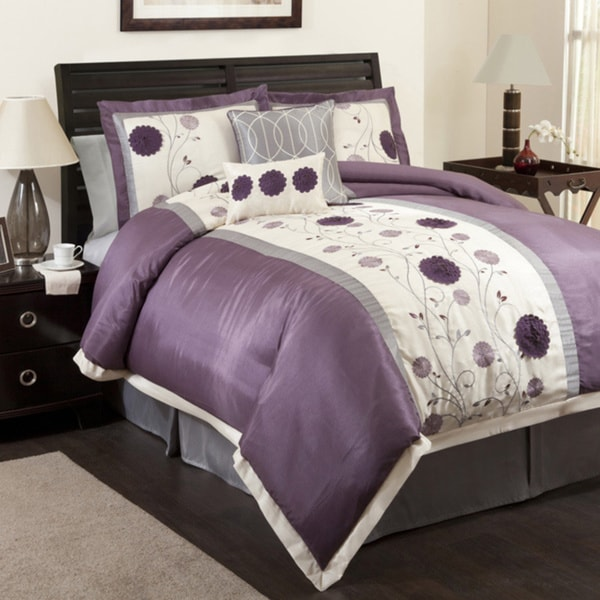 Lush Decor Purple/Gray Juliana 6-piece Comforter Set - Purple/Grey