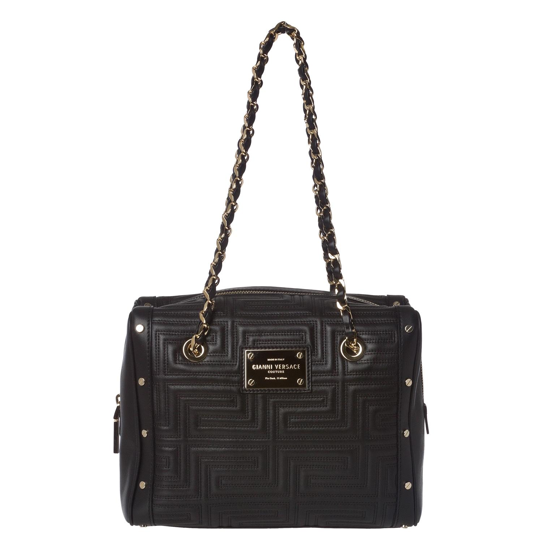 Versace Stitched Black Leather Shoulder Bag