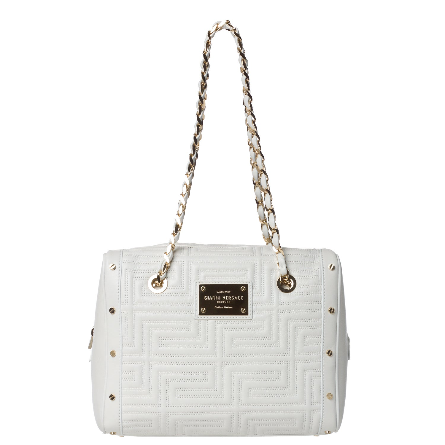 Versace Stitched White Leather Shoulder Bag with Woven Chain Strap