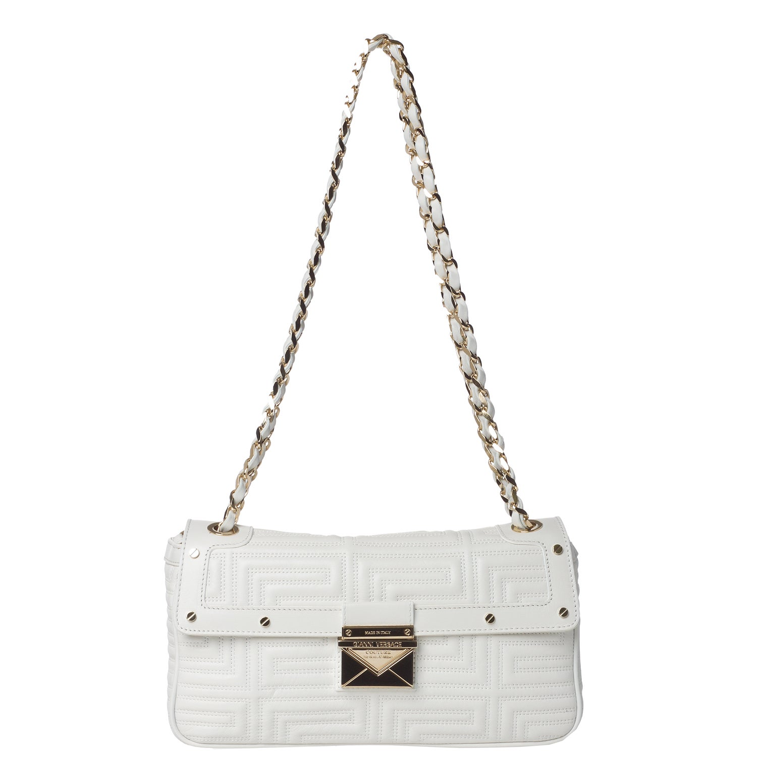Versace Stitched White Leather Flap-over Shoulder Bag - Free ...