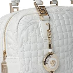 Versace 'Vantias' Quilted White Leather Satchel Bag