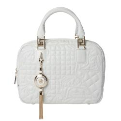 Versace 'Vantias' Quilted White Leather Satchel Bag - Free ...