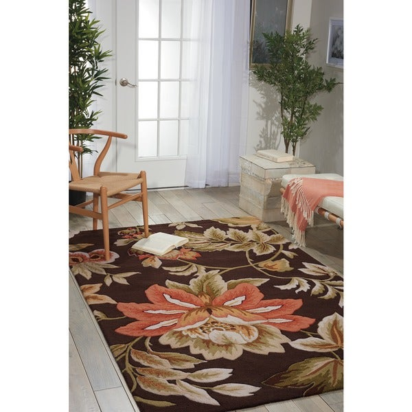 7f7f8ffda52 Shop Nourison Hand-Hooked Fantasy Brown Floral Rug (8  x 10 6) - 8 ...