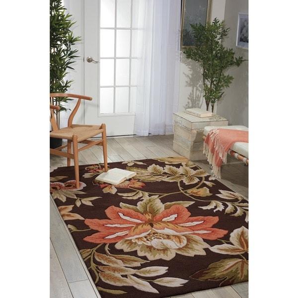 Nourison Hand-Hooked Fantasy Brown Floral Rug (8' x 10'6) - 8' x 10'6