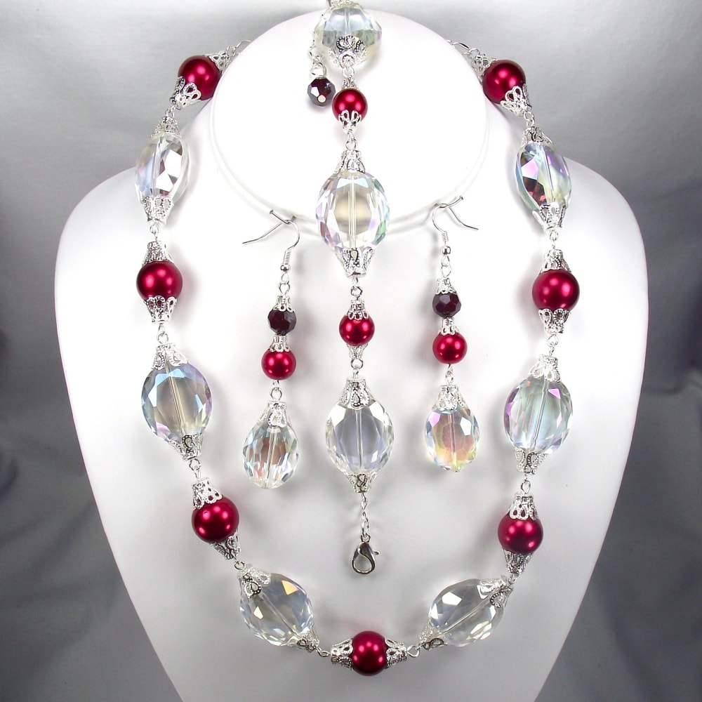 Silverplated Cherry Red Glass Pearl and Clear AB Oval Crystal Jewelry Set