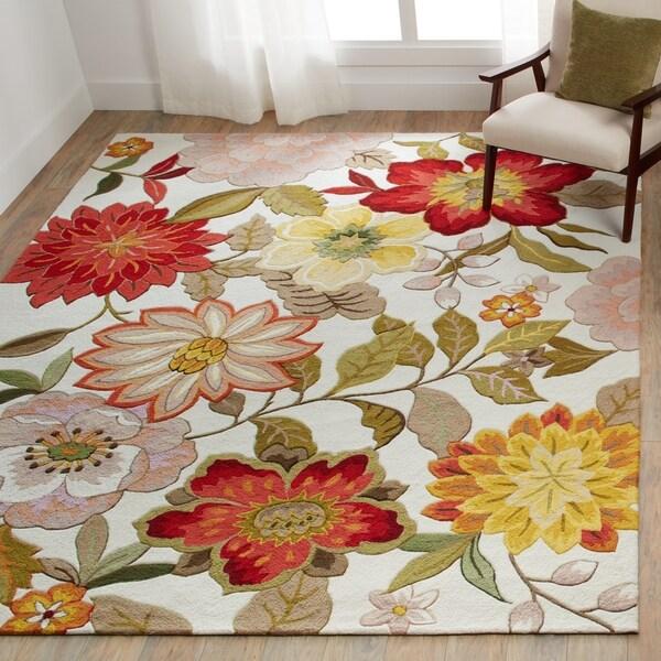 Nourison Fantasy Ivory Floral Area Rug - 5' x 7'6