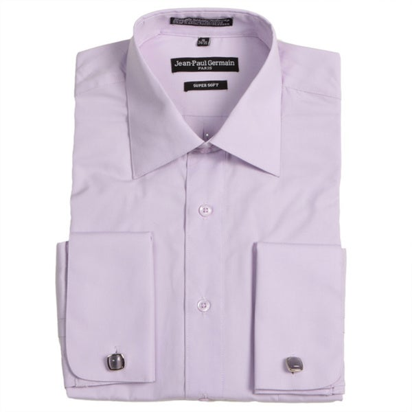 Jean paul germain men 39 s lavender french cuff dress shirt for Mens white french cuff shirt