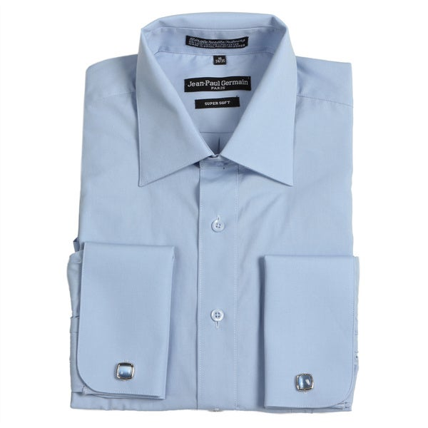 Jean paul germain men 39 s medium blue french cuff dress for French cuff mens shirts