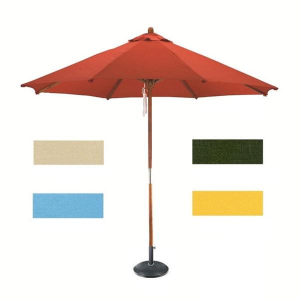 Lauren & Company Round Wood Market Umbrella with Stand (9')
