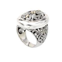 Large Sterling Silver and 18k Yellow Gold Oval Filigree Statement Ring