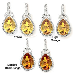 Avanti 14k White Gold Citrine and 3/8ct TDW Diamond Earrings (G-H, I1-I2)
