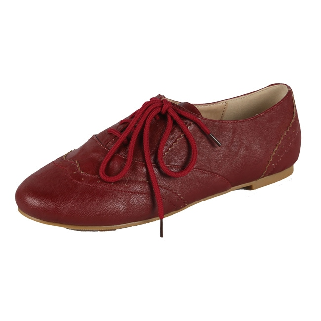 Modesta by Beston Women's 'Maya-04' Burgundy Lace-up Oxfords