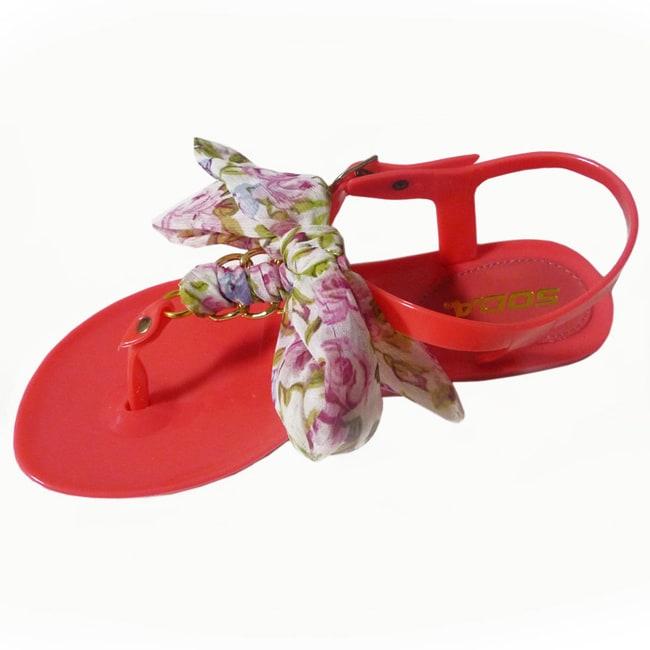 I-Comfort Women's Satin Tie Jelly Sandal