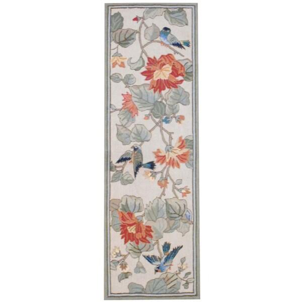 Herat Oriental Asian Hand-tufted Multicolor Floral Bird Wool Rug (2'8 x 8')