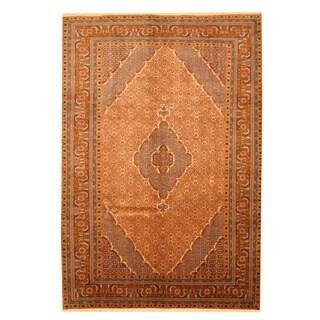 Herat Oriental Persian Hand-knotted Moud Light Brown/ Light Blue Wool Rug (6'7 x 9'8)
