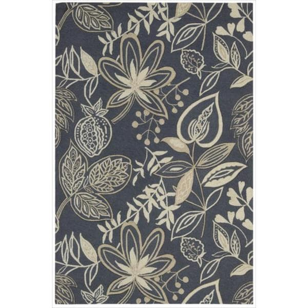 Nourison Hand-Hooked Fantasy Gray Area Rug - 5' x 7'6""