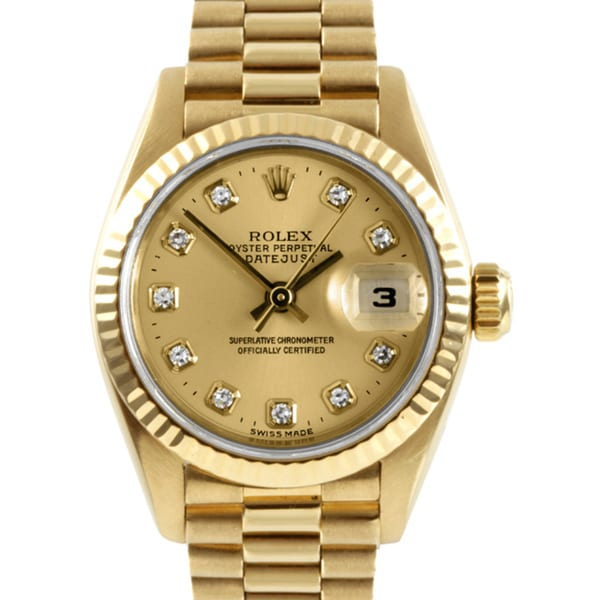 f58511bf877 Shop Pre-owned Rolex Women's 18k Gold President Watch - Free Shipping Today  - Overstock - 6828239