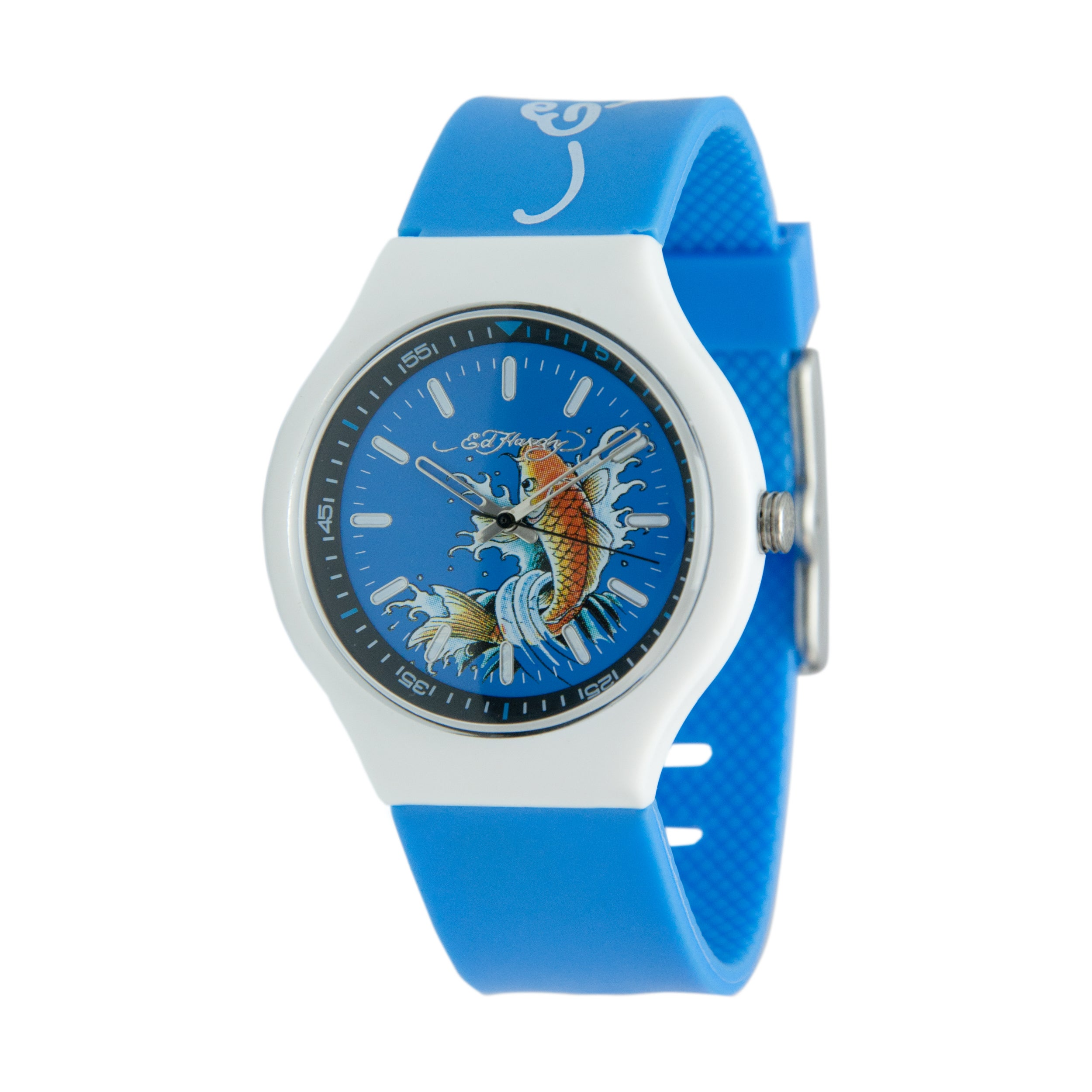 Ed Hardy Unisex Neo Blue/Silvertone Watch with Silicone Strap