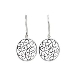 Sunstone Sterling Silver Round Filigree Disc Dangle Earrings
