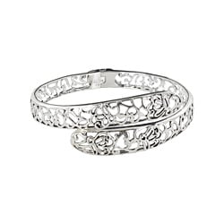 Sunstone Sterling Silver Bali Fine Filigree Hinged Cuff Bracelet