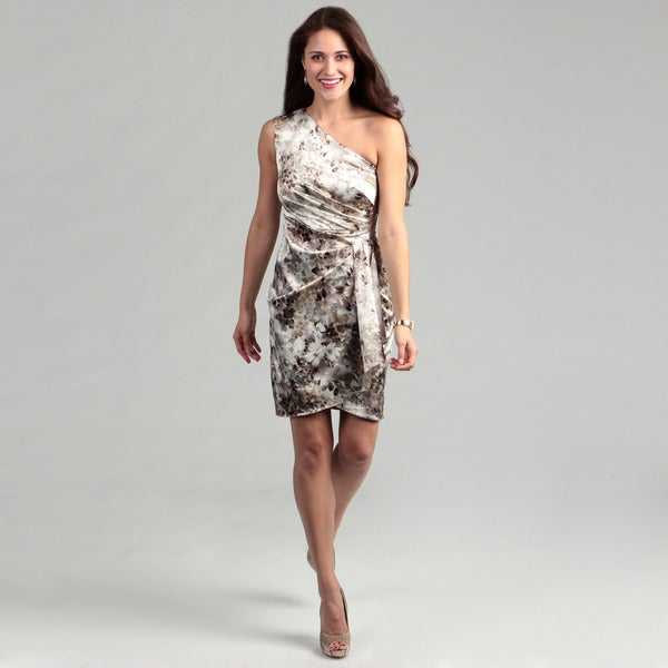 London Times Floral Print Stretch Satin Dress