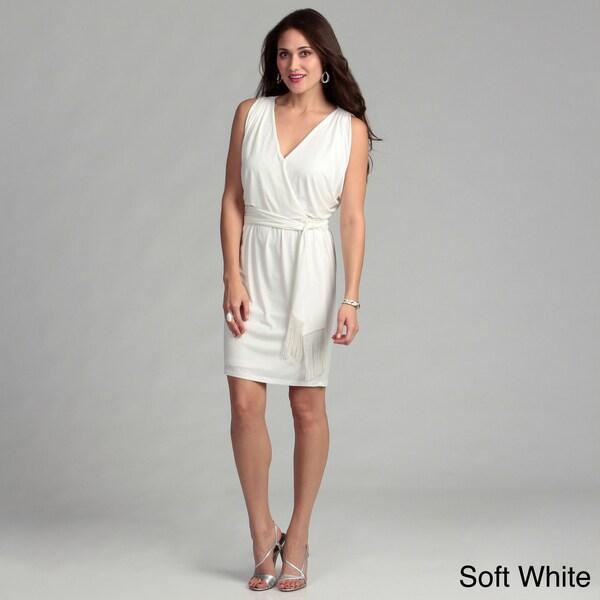 London Times Matte Jersey Shawl Neck Dress