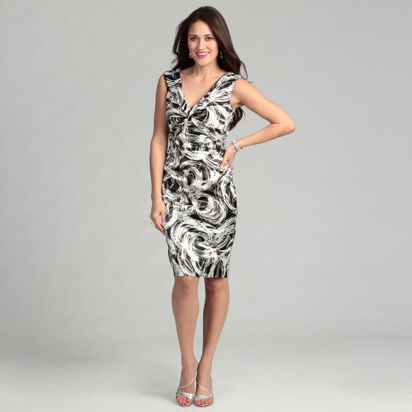 London Times Printed Stretch Satin Sheath Dress