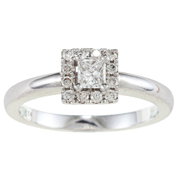 Victoria Kay 14k White Gold 3/8ct TDW Certified Diamond Engagement Ring (F-G, SI1)