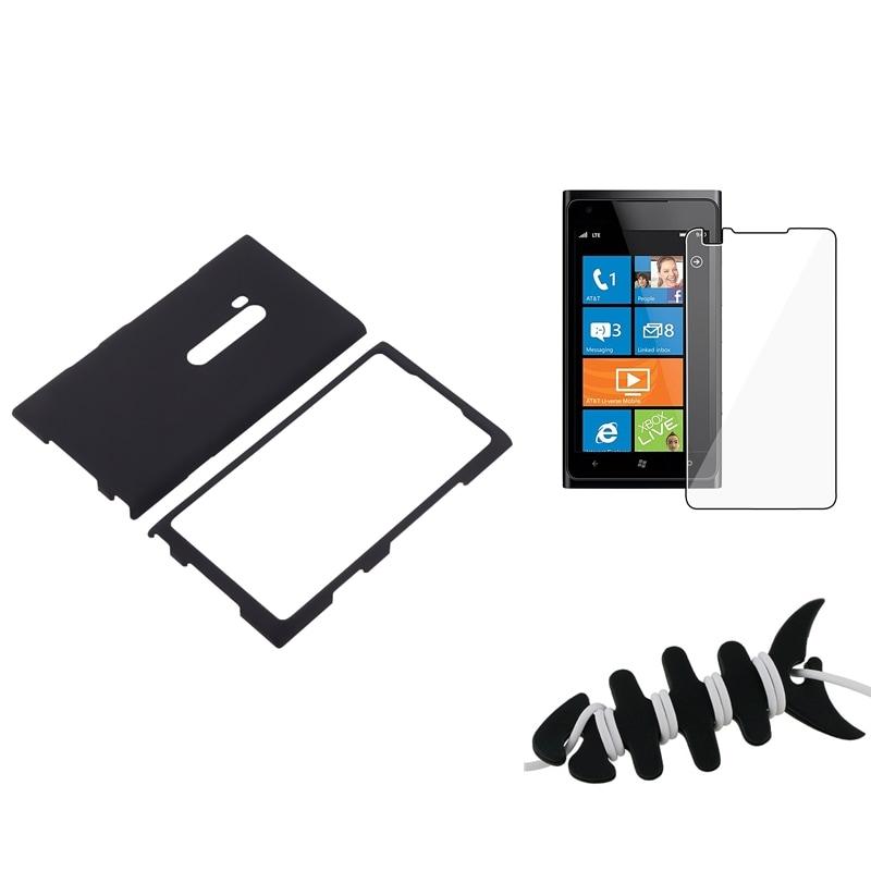 Black Case/ Screen Protector/ Headset Wrap for Nokia Lumia 900