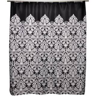Essence Black Shower Curtain|https://ak1.ostkcdn.com/images/products/6828602/Waverly-Essence-Black-Shower-Curtain-P14357927.jpeg?impolicy=medium