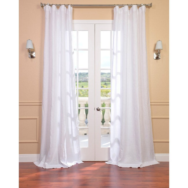 Exclusive Fabrics Signature Purity White French Linen Sheer Curtain Panel