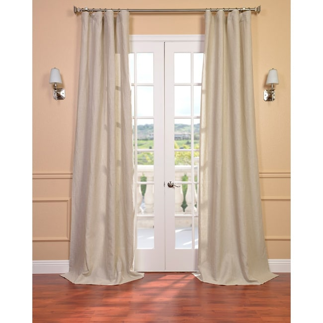Exclusive Fabrics Signature Beige French Linen Sheer Curtain Panel