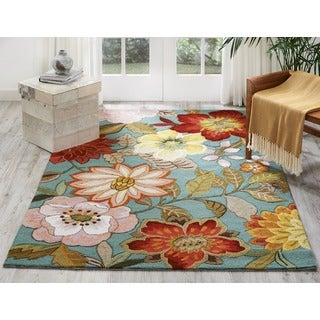 Nourison Hand-hooked Fantasy Aqua Floral Rug (3'6 x 5'6)