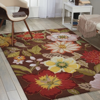 """Nourison Hand-Hooked Fantasy Brown Area Rug (3'6"""" x 5'6"""")"""
