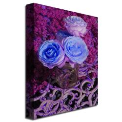 Patty Tuggle 'Blue and Pink Roses' Canvas Art (Refurbished) - Thumbnail 1