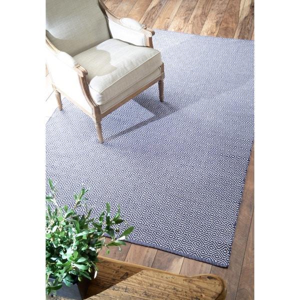 nuLOOM Handmade Flatweave Diamond Navy Cotton Rug (8' x 10')