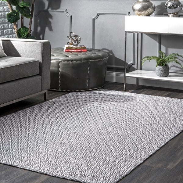 Shop Nuloom Handmade Flatweave Diamond Grey Cotton Rug 5