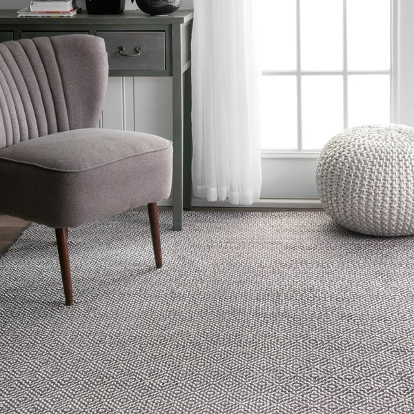 Nuloom Handmade Flatweave Diamond Grey Cotton Rug 5 X 8