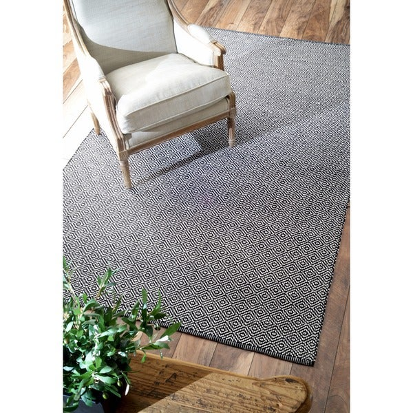 nuLOOM Handmade Flatweave Diamond Black Cotton Rug (5' x 8') - 5' x 8'