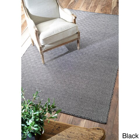 nuLOOM Handmade Flatweave Diamond Cotton Area Rug