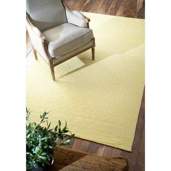 nuLOOM Handmade Flatweave Moroccan Trellis Yellow Cotton Rug (8' x 10')