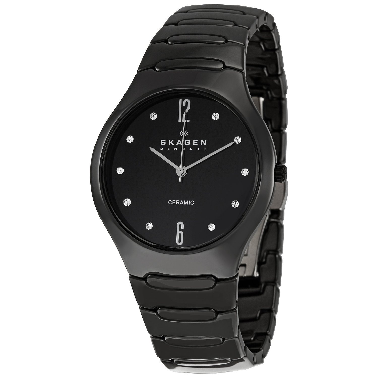 skagen women 39 s 817sbxbc ceramic round black bracelet watch free shipping today overstock