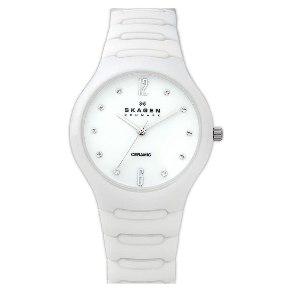 Skagen Women's Ceramic White Dial Watch