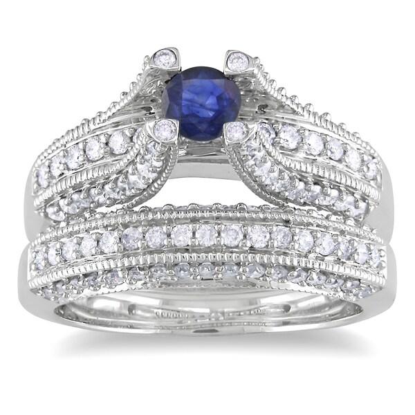Miadora 14k White Gold 1/3ct TGW Sapphire and 4/5ct TDW Diamond Bridal Ring Set (G-H, I1)