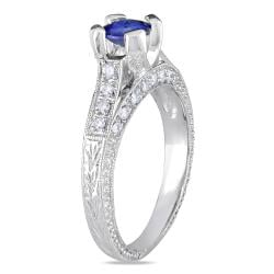 Miadora 14k White Gold 5/8ct TGW Sapphire and 1/5ct TDW Diamond Ring (G-H, SI1-SI2)