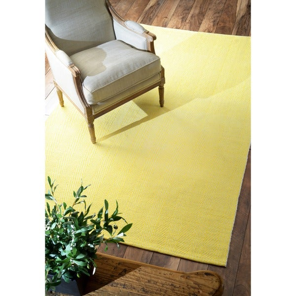 nuLOOM Handmade Flatweave Herringbone Chevron Yellow Cotton Rug (8' x 10')
