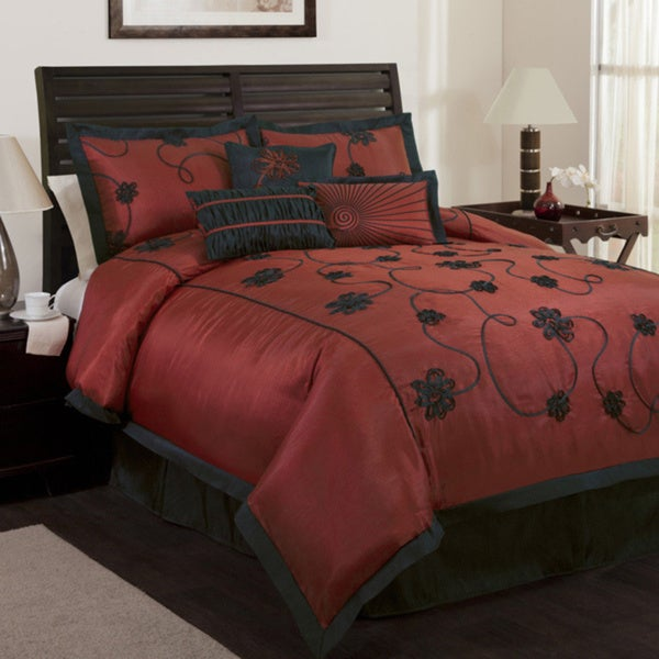 Lush Decor Red/Black Milione Fiori 7-piece Comforter Set